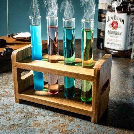 Imprezowe Probówki 4 szt. z Drewnianym Stojakiem party glass tube set