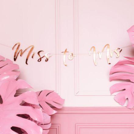Baner Miss to Mrs – Różowe Złoto dekoracje na wieczór panieński
