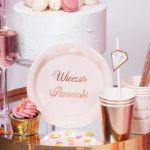 Talerzyki Okrągłe Wieczór Panieński różowe talerzyki z napisem