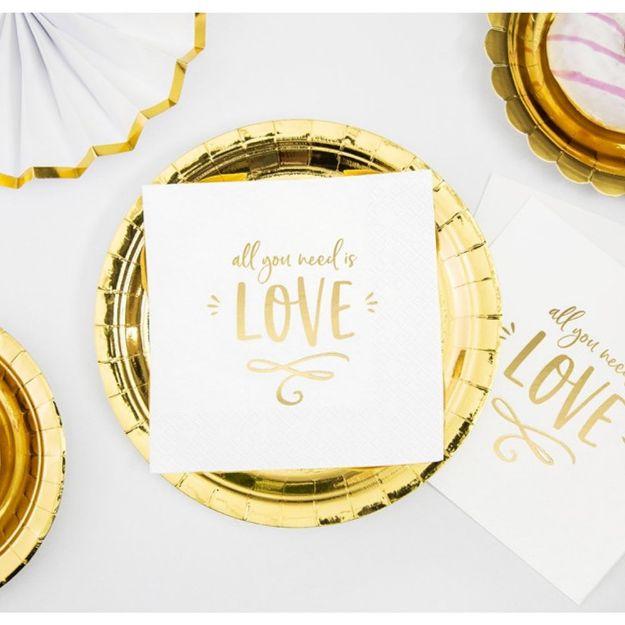 Serwetki – All You Need is Love białe serwetki ze złotym napisem