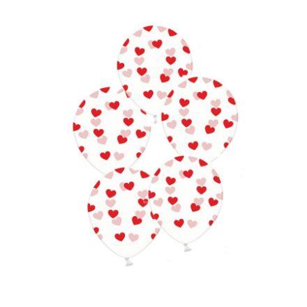 Balony – Przezroczyste w Czerwone Serduszka dekoracje na ślub