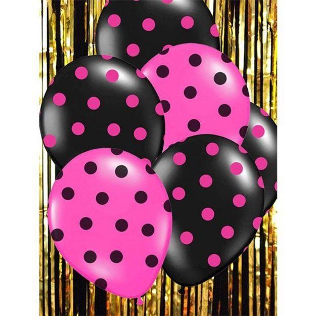 Balony – Różowe w Czarne Kropki dekoracje na wieczór panieński