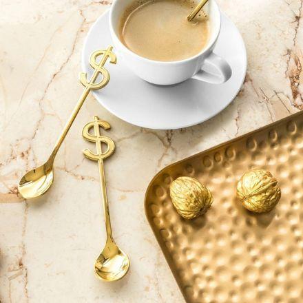 Łyżeczki do herbaty Bogacza złote dolary łyżeczki stołowe z uchwytem jak dolary